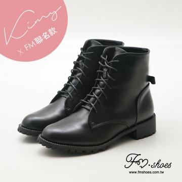 Fmshoes Kimy聯名款-正韓水鑽低跟軍靴-黑