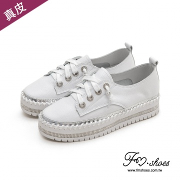 FMSHOES FM collection-真牛皮鑲鑽繫帶厚底鞋