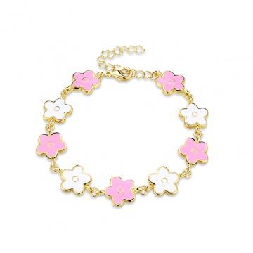 【新品】 Glamorousky 優雅時尚粉色花朵手鏈