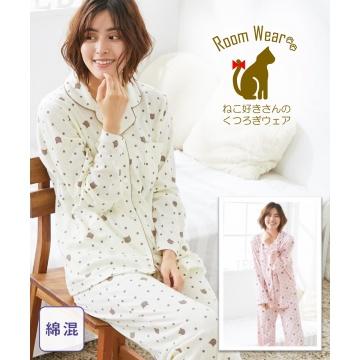 【新品】 nissen (WEB限定) 貓咪圓點襯衫睡衣套裝(棉混柔軟雙面平針織) (日本女裝大尺碼) (睡衣及家居服)