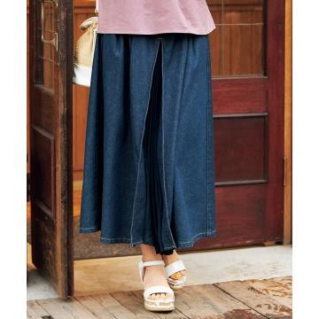 【新品】 nissen 百褶拼接牛仔裙 (日本女裝大尺碼)