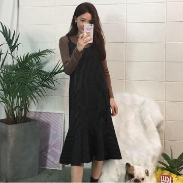 【新品】 CHUU 淨色上衣+條紋連身裙套裝 (韓國女裝)
