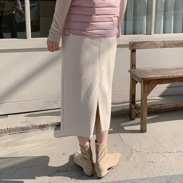 【新品】 CHUU 基本款高腰淨色後開衩長裙 (韓國女裝)