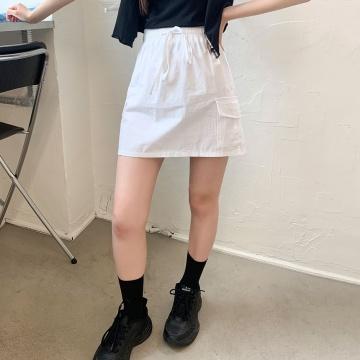 CHUU 淨色百搭側口袋鬆緊短裙 (韓國女裝)