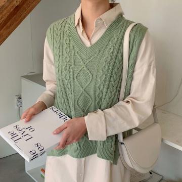 QNIGIRLS 韓版針織V領背心 (韓國女裝)