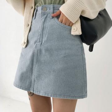 ICECREAM12 百搭高腰鈕釦短裙 (韓國女裝)