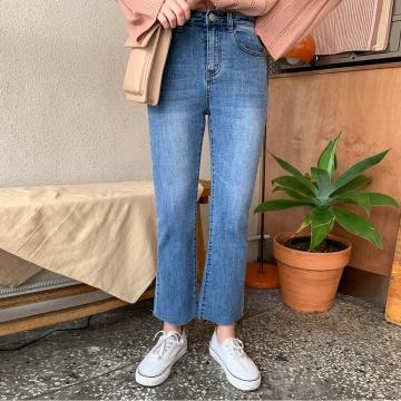 SONYUNARA SK 一字褲腳磨白牛仔褲 (韓國女裝)
