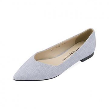 【新品】 SPUR (韓國手製)斜紋尖頭平底鞋-天藍